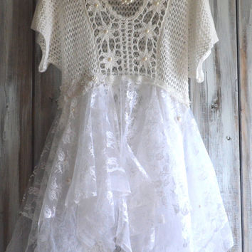 Romantic women's dresses, Winter white Fairy Tale inspired Tunic Dress, Shabby cottage chic, Crochet dress, pearls, True rebel clothing