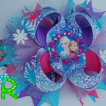 Elsa and anna hair bow, frozen  ott bow, disney queen boutique bow, pink and blue cute bow