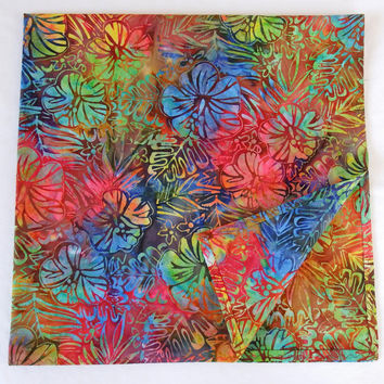 "Botanical Garden Scarf / 30"" Square Head Scarf / Batik Hair Bandanas / Handmade Hawaiian Scarves / Large Square Scarves / Sunblock Scarf"