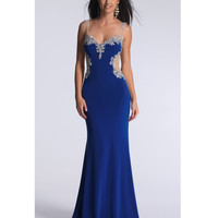 Preorder - Dave & Johnny 1145 Royal Sheer Back Embellished Dress 2015 Prom Dresses