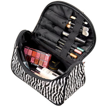 Hot Selling Cosmetic Bag Multifunctional Travel Pockets Handbag Storage Bag Travel Organizer Makeup Bag Pouch Zebra
