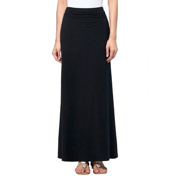 High Waist Stretchy Long Black Maxi