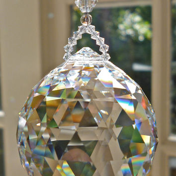 "GIGANTIC 70mm Swarovski Crystal Ball Suncatcher, 2.76 Inches in Diameter - Breathtaking - ""SIMPLICITY COLOSSAL"", 12.5 Inches Long"