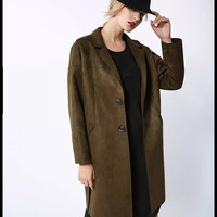 Faux Suede Leather Sleeve Notched Button Coat
