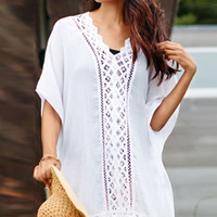 White Lace Detail Chiffon Swim Cover Up