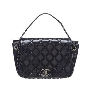 Chanel Navy Blue Lambskin Chain Around Accordion Flap Handbag