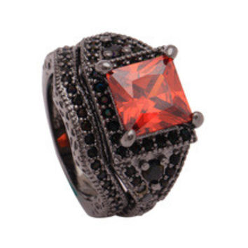 black gold plated ring with ruby cz diamond jewelry promise rings sets 2pc black color New engagement rings for women Wedding