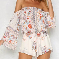 Polychrome Floral Off Shoulder Tie Waist Romper Playsuit