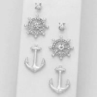 Silver Anchor 3 Earring Set