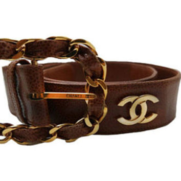 MOSCHINO Redwall belt-Brown leather belt vintage leather belt- vintage designer- cow and hearts- gold buckle belt- ceinture- europe shipping