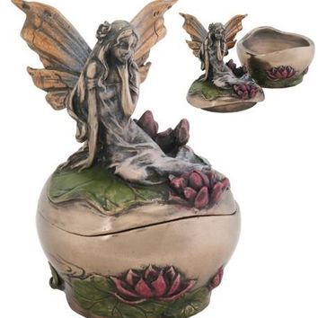 Fairy Michelle Mini Round Jewelry Trinket Box
