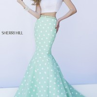 Long Two Piece Gown with Short Sleeves by Sherri Hill