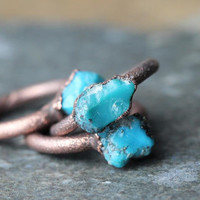 Turquoise Ring Electroformed Stone Real Turquoise Copper Ring Sagittarius Birthstone Gemstone Delicate Ring