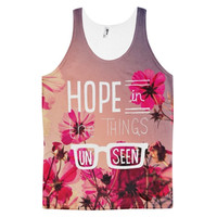 Hope In The Things Unseen Flowers Garden Beautiful Quote Floral Dye Sublimation All Over Print 3D Full Print Cotton Polyester Unisex Novelty White Red Purple & Pink Tank Top