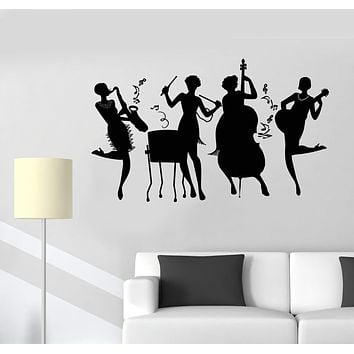 Vinyl Wall Decal Jazz Band Club Girls Music Retro Style Notes Stickers Unique Gift (1811ig)