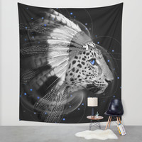 Don't Define the World (Chief of Dreams: Amur Leopard) Wall Tapestry by Soaring Anchor Designs