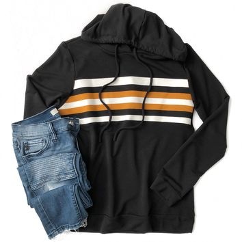Black Hoodie with Mustard and Ivory Stripes