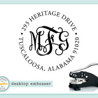 Embosser - INTERLOCKING MONOGRAM ADDRESS Style - Desk Model - Personalized Return Address - Embossing Stamp Seal - Wedding Housewarming Gift