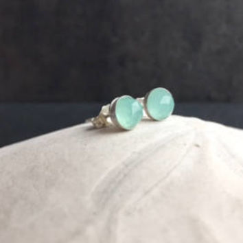 Aqua Chalcedony Post Earrings, Mint Green Studs, Spring Jewelry, Dainty Minimalist Earrings, Easter Gift Ideas for Her, Beach Summer Jewelry