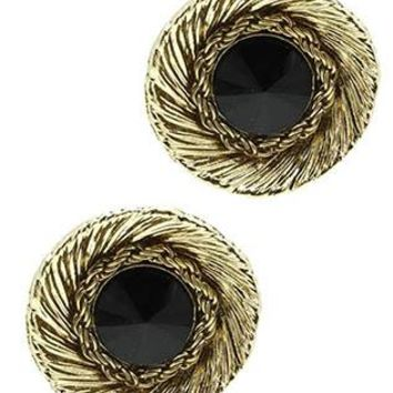 Faceted Homaica Stone Textured Metal Bowl Rope Chain Earrings