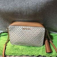 Michael Kors Ginny Camera Vanilla & Tan Gold Stars Leather Zip Chain Crossbody
