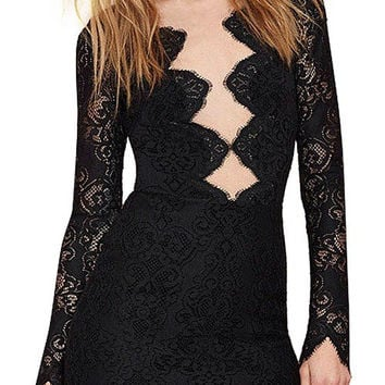 Black Cut Out Scalloped Hem Lace Dress