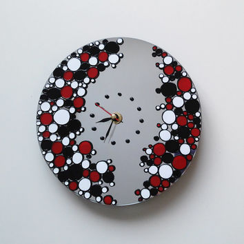 Bubbles Inspired Mirror Wall Clock With Non Ticking Silent  Unique  Clock  Hand painted clock Wall Decor