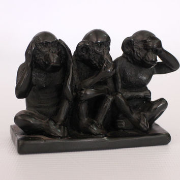 Exclusive monkey Figurine (3 units in horisontal)  - Ebony wood colored  carved from old Sri Lanka technology.