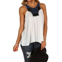 Sale-white Embellished Neck Top