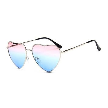 Women Heart Shape Sunglasses Ocean Lenses Sun Glasses For Female