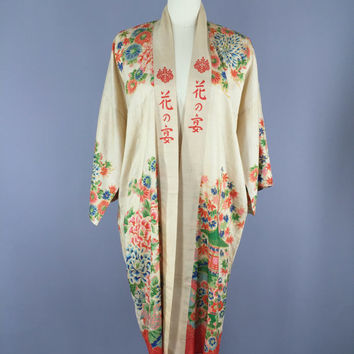 Vintage Silk Robe / 1920s 1930s / Vintage Kimono Robe / Silk Dressing Gown / Raw Silk / Art Deco Chinoiserie / Downton Abbey