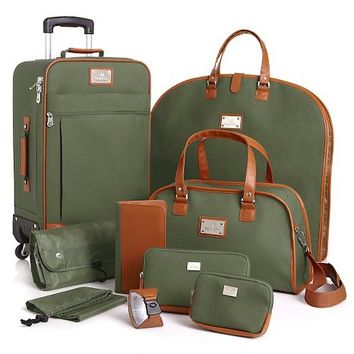Joy Mangano St. Barts Canvas Chic Luggage Set - 10 Piece at HSN.com