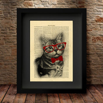 Cat Art Print,  Glasses Cat Dictionary print, Old Style Dictionary Page Print, Poster wall decal, Wall Art Print , Home Decor, Cat Poster -5