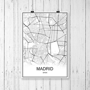 MADRID SPAIN City Map Vintage Poster Abstract Coated Paper Print Picture Bar Cafe Pub Living Room Wall Painting 42x30cm