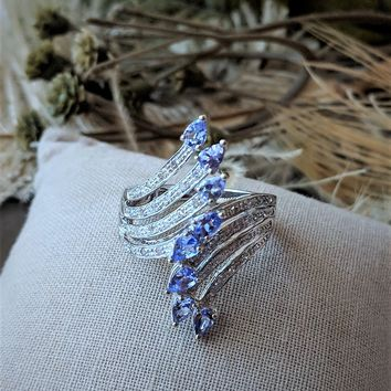 Vintage 10K White Gold Diamond Tanzanite Spray Ring Size 7 1/4