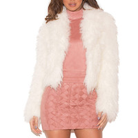 Clothing : Jackets : 'Ambra' White Fluffy Faux Fur Jacket