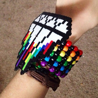 Rainbow Dripping Diamond Perler Rave Kandi Cuff