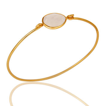 Rainbow Moonstone Sterling Silver Gold Plated Handmade Openable Bangle