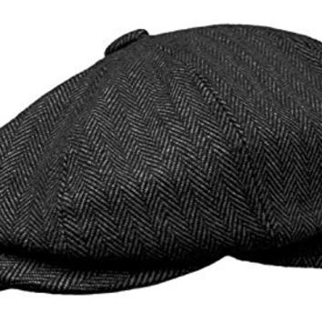 ROOSTER Herringbone Wool Tweed Newsboy Gatsby Ivy Cap Golf Cabbie Driving Hat (X-Large, Charcoal)