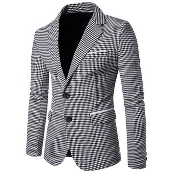 NIBESSER Casual Plaid Print Men Blazer Fashion Long Sleeve Wedding Dress Coat Autumn White Social Business Mens Blazer Jacket