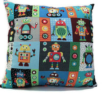 Pillow Cover- Toy Robot Fabric Pattern- Child's Room Decor- Red Canvas Backing- Accent Pillow, Nap Time Pillow, Playtime Floor Pillow