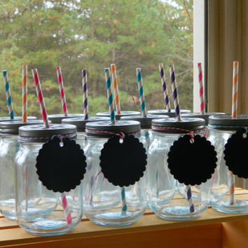 Decorated Mason Jar Party Cups - Pint Size, holds 16 ounces and comes with Colored Straws and Chalkboard Tags