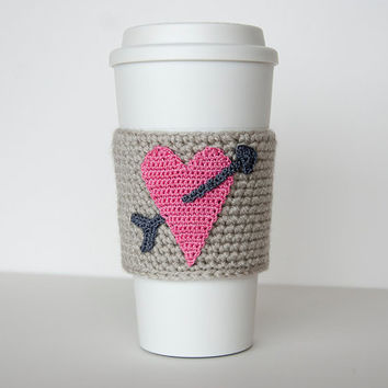 Cup Sleeve, Coffee cozy, valentine heart, pink heart, i love coffee, true gray colored sleeve, charcoal arrow, valentine for her, cup cozy