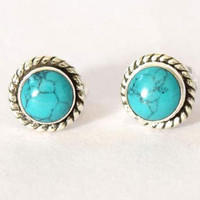 Turquoise Stud Earrings,  Turquoise Studs Earrings, 925 Sterling Silver stud