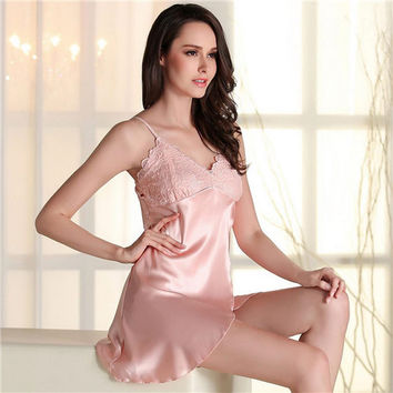 2017 Sleep Lounge Lace Nightgowns Women Silk Nightdress Deep V Temptation Vintage Sexy Home Dress Sleepwear Camisao