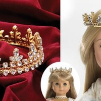 Gold Fleur De Lis Princess Crown for 18 inch Carpatina, American Girl or AGFAT dolls