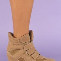Bubble Trouble Wedge Sneaker - Taupe at Necessary Clothing