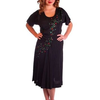 Vintage Black Cocktail Dress W/Colored Sequin Floral Soutache 1940S 40-30-42