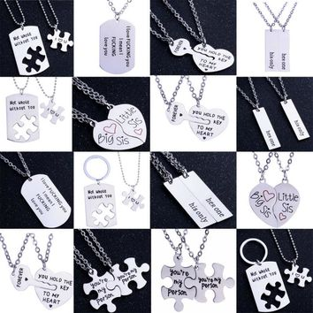 Stainless Steel Love Heart Necklace Romantic Lover Couple Friend Gifts Pendant Necklaces Sister Women Men Charm Chain 2PC/Set