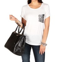 White Tee With Sequin Pocket